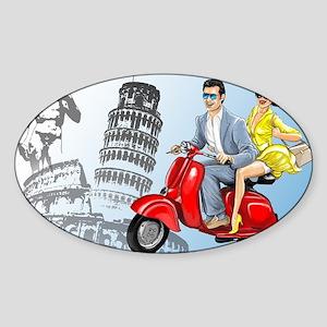 italian vespa romance Sticker (Oval)