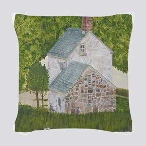 #1 square w edge Woven Throw Pillow