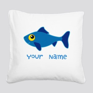 Personalized Fish Fisherman Square Canvas Pillow