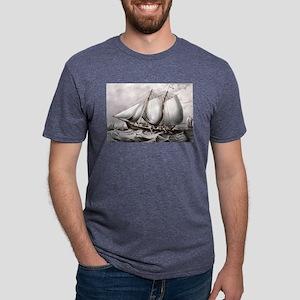 Cod fishing-off Newfoundland - 1872 Mens Tri-blend
