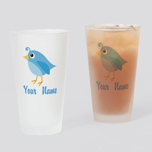 Personalized Blue Bird Drinking Glass