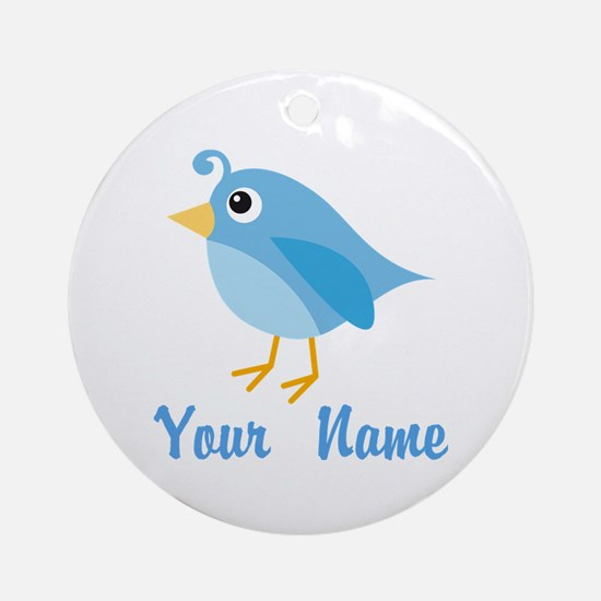 Personalized Blue Bird Ornament (Round)