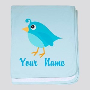 Personalized Blue Bird baby blanket