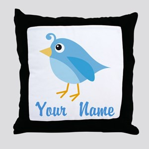 Personalized Blue Bird Throw Pillow