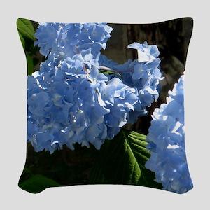 bluehydrangapillow Woven Throw Pillow