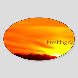 twilightbreakingdawnsunrisebeachbg Sticker (Oval)