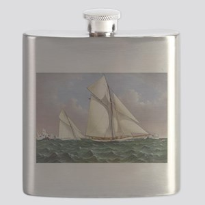 Mayflower saluted by the fleet - 1886 Flask