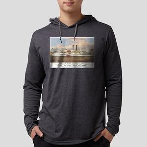 People's line Hudson River - 1877 Mens Hooded Shir