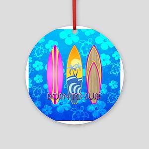 Born To Surf Honu Ornament (Round)