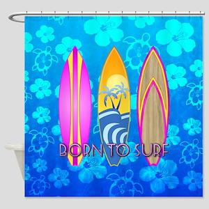 Born To Surf Honu Shower Curtain