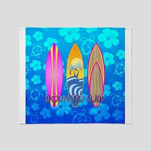 Born To Surf Honu Throw Blanket