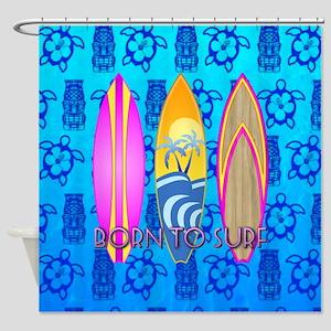 Born To Surf Tiki Shower Curtain