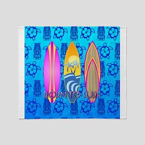 Born To Surf Tiki Throw Blanket