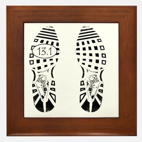 13.1a shoeprint shirt Framed Tile