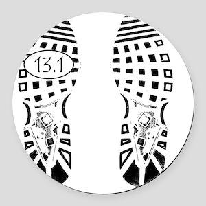 13.1a shoeprint shirt Round Car Magnet