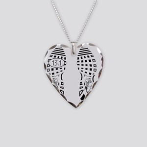 13.1a shoeprint shirt Necklace Heart Charm