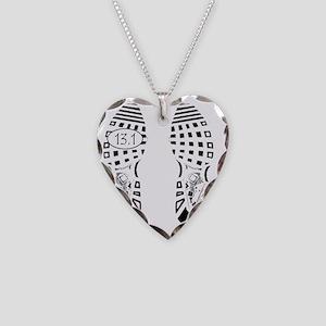 13.1a shoeprint shirt Necklace Heart Charm