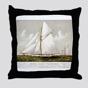 Sloop yacht Volunteer - 1887 Throw Pillow