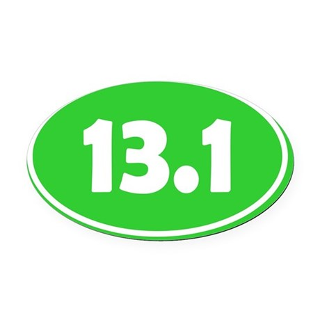 13.1 Oval - Lime Green Oval Car Magnet