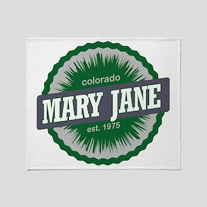 Mary Jane Ski Resort Colorado Green Throw Blanket