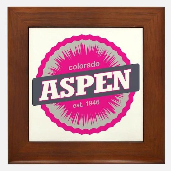 Aspen Ski Resort Colorado Pink Framed Tile
