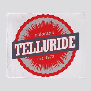 Telluride Ski Resort Colorado Red Throw Blanket