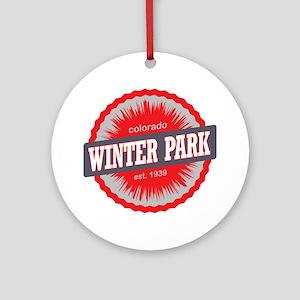 Winter Park Ski Resort Colorado Red Round Ornament