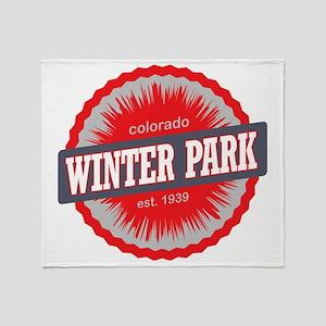 Winter Park Ski Resort Colorado Red Throw Blanket