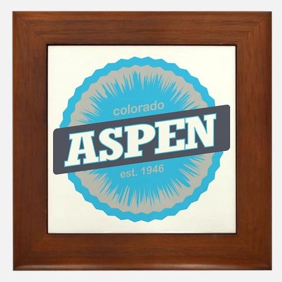 Aspen Ski Resort Colorado Sky Blue Framed Tile