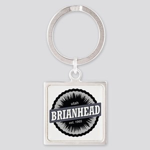 Brian Head Ski Resort Utah Black Square Keychain
