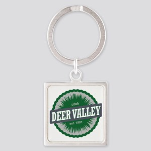 Deer Valley Ski Resort Utah Green Square Keychain