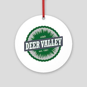 Deer Valley Ski Resort Utah Green Round Ornament