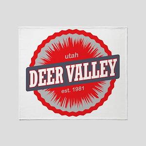 Deer Valley Ski Resort Utah Red Throw Blanket
