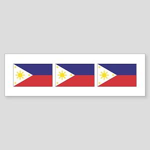 3 Philippine Flags Bumper Sticker