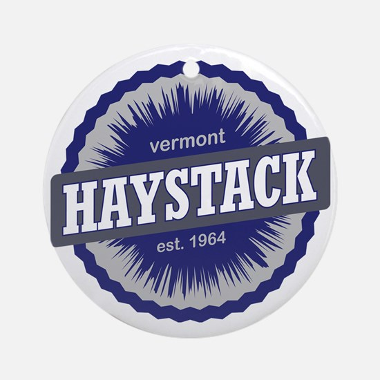 Haystack Ski Resort Vermont Navy Bl Round Ornament