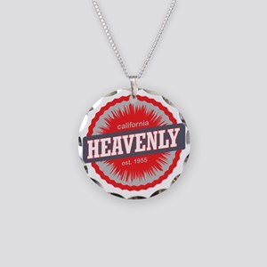 Heavenly Mountain Ski Resort Necklace Circle Charm