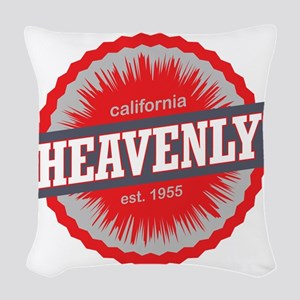 Heavenly Mountain Ski Resort C Woven Throw Pillow