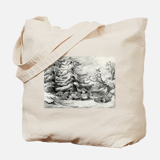 Snowed up - ruffed grouse in winter - 1867 Tote Ba