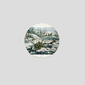 Moose and wolves a narrow escape - Circa 1880 Mini