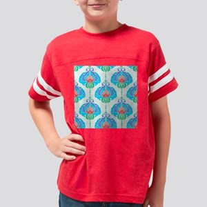 Painted Flowers-Blue-SEAMLESS Youth Football Shirt
