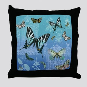 Rustic Garden Country Vintage Butterf Throw Pillow