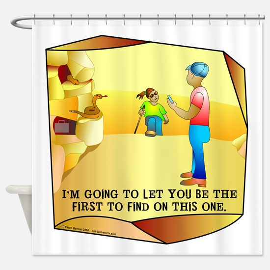 Geocaching First to Find Shower Curtain