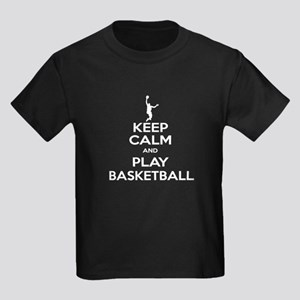 Keep Calm Basketball - Guy Kids Dark T-Shirt