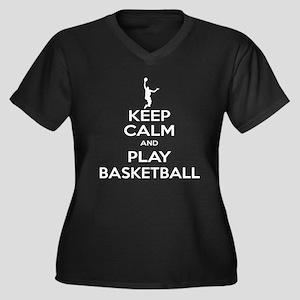 Keep Calm Basketball - Guy Women's Plus Size V-Nec
