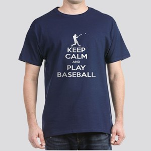 Keep Calm and Play Baseball Dark T-Shirt
