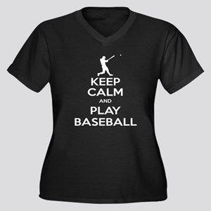Keep Calm and Play Baseball Women's Plus Size V-Ne