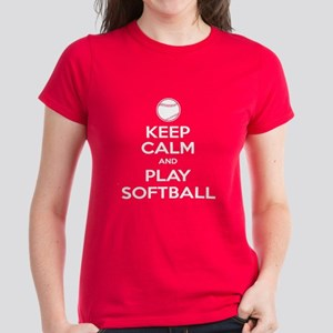 Keep Calm and Play Softball Women's Dark T-Shirt