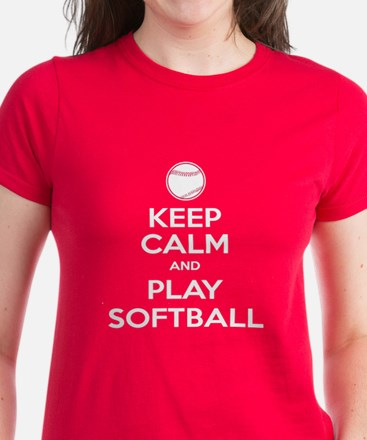 Keep Calm and Play Softball Women's Dark T-Shirt