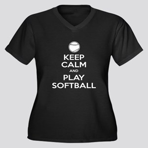 Keep Calm and Play Softball Women's Plus Size V-Ne