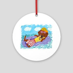 Dachshund Lazy Lifeguard Ornament (Round)